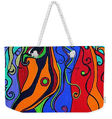 Weekender Tote Bag featuring the painting Kaleidoscope Eyes by Alison Caltrider