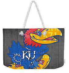 Kansas Jayhawks College Sports Team Retro Vintage Recycled License Plate Art Weekender Tote Bag by Design Turnpike