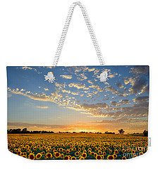 Kansas Sunflowers At Sunset Weekender Tote Bag