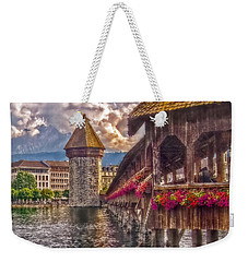 Weekender Tote Bag featuring the photograph Kapellbruecke by Hanny Heim