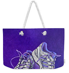 Weekender Tote Bag featuring the painting Karen's Shoes by Pamela Clements