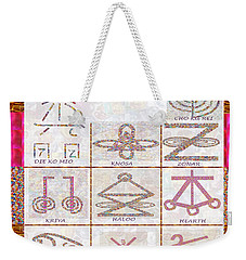 Karuna Reiki Healing Power Symbols Artwork With  Crystal Borders By Master Navinjoshi Weekender Tote Bag