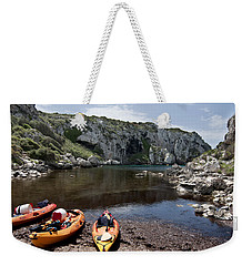 Kayak Time - The Landscape Of Cales Coves Menorca Is A Great Place For Peace And Sport Weekender Tote Bag