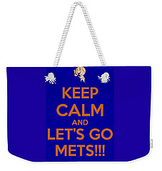 Weekender Tote Bag featuring the photograph Keep Calm And Lets Go Mets by James Kirkikis