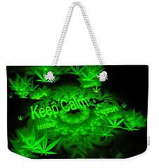 Keep Calm - Green Fractal Weed Art Weekender Tote Bag