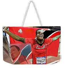 Weekender Tote Bag featuring the mixed media Keshorn Walcott by Vannetta Ferguson