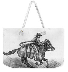 Weekender Tote Bag featuring the drawing Kickin Up Dust by Shana Rowe Jackson