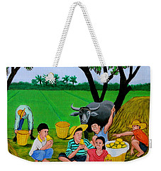 Weekender Tote Bag featuring the painting Kids Eating Mangoes by Cyril Maza