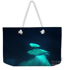 Weekender Tote Bag featuring the photograph Killer Whales Orcas Under Water  Off The San Juan Islands 1986 by California Views Mr Pat Hathaway Archives