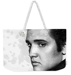 King Of Rock Elvis Presley Black And White Weekender Tote Bag