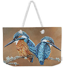 Weekender Tote Bag featuring the painting Kingfishers by Jane Girardot