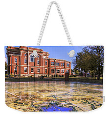 Kiowa County Courthouse With Mural - Hobart - Oklahoma Weekender Tote Bag by Jason Politte