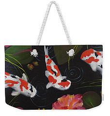Weekender Tote Bag featuring the painting Kippycash Koi by Judith Rhue