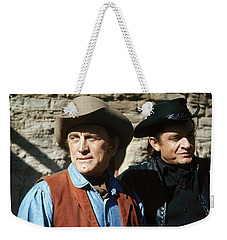Weekender Tote Bag featuring the photograph Kirk Douglas Johnny Cash A Gunfight  Old Tucson Arizona 1971 by David Lee Guss