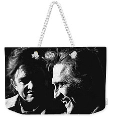 Weekender Tote Bag featuring the photograph Kirk Douglas Laughing Johnny Cash Old Tucson Arizona 1971 by David Lee Guss