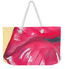 Weekender Tote Bag featuring the painting Kiss  by Marisela Mungia