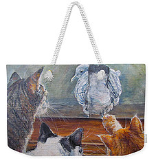 Weekender Tote Bag featuring the painting Kiss My Assssssss by Donna Tucker