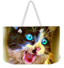 Weekender Tote Bag featuring the painting Kitten by Daniel Janda