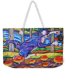 Kitty Dances With Fantail By Toadstool Ledge Weekender Tote Bag