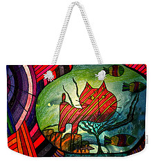 Kitty In A Fish Bowl - Abstract Cat Weekender Tote Bag