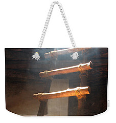 Weekender Tote Bag featuring the photograph Kiva Ladder by Marcia Socolik