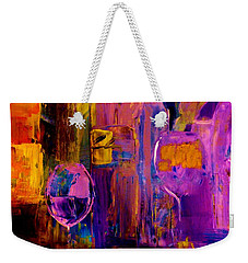 Weekender Tote Bag featuring the painting Wine Glass Ice Sculpture by Lisa Kaiser
