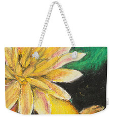 Weekender Tote Bag featuring the painting Koi And The Lotus Flower by Jeanne Fischer