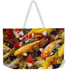 Weekender Tote Bag featuring the photograph Koi Pond 2 by Marie Hicks