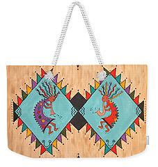 Weekender Tote Bag featuring the painting Kokopelli Jammin by Susie WEBER