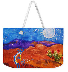 Kokopelli Playing To The Moon Weekender Tote Bag