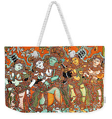 Weekender Tote Bag featuring the painting Krishna And Radha by Pg Reproductions