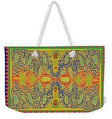 Weekender Tote Bag featuring the digital art Kuna Bird Spirits by Vagabond Folk Art - Virginia Vivier