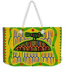 Weekender Tote Bag featuring the digital art Kuna Bird With Snake by Vagabond Folk Art - Virginia Vivier