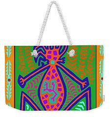 Weekender Tote Bag featuring the digital art Kuna Indian Mother Earth by Vagabond Folk Art - Virginia Vivier