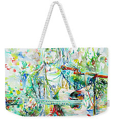 Kurt Cobain Playing The Guitar - Watercolor Portrait Weekender Tote Bag by Fabrizio Cassetta