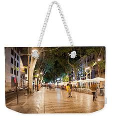 La Rambla At Night  In Barcelona Weekender Tote Bag