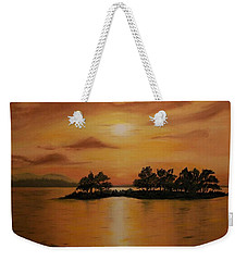 Weekender Tote Bag featuring the painting Lac La Biche  Sunset by Sharon Duguay