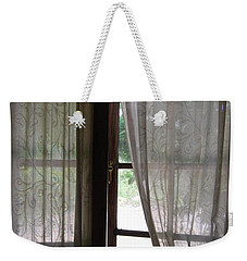 Weekender Tote Bag featuring the photograph Lace Window Covering. by Jocelyn Friis