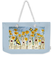 Weekender Tote Bag featuring the painting Ladies In The Garden by Angela Davies