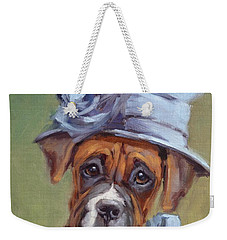 Lady Boxer With Blue Hat Weekender Tote Bag