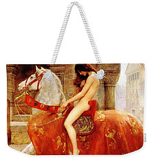 Weekender Tote Bag featuring the painting Lady Godiva by Pg Reproductions