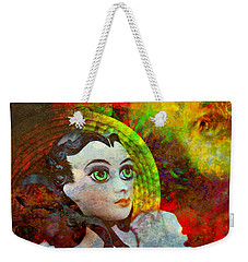 Weekender Tote Bag featuring the mixed media Lady In Red by Ally  White