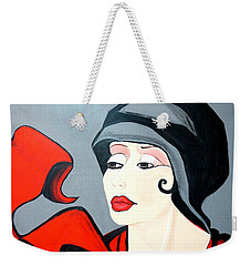 Lady In Red  Art Deco Weekender Tote Bag