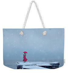 Lady In Red On Snowy Pier Weekender Tote Bag