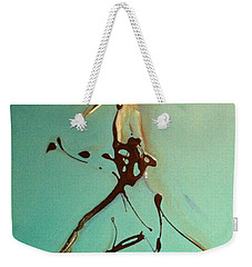 Weekender Tote Bag featuring the painting Lady In The Hat by Kicking Bear  Productions
