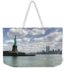Lady Liberty And New York Twin Towers Weekender Tote Bag