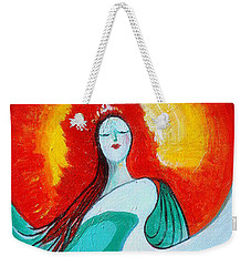 Weekender Tote Bag featuring the painting Lady Of Two Worlds by Alison Caltrider