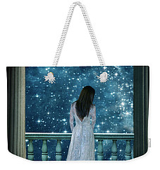 Lady On Balcony At Night Weekender Tote Bag
