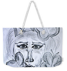 Weekender Tote Bag featuring the drawing Lady Queen Of Butterflies by Ramona Matei
