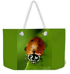 Ladybug On Leaf Weekender Tote Bag